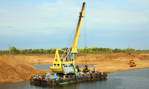 development sandpit with dredge
